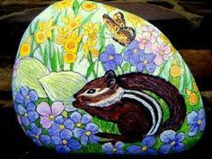 My Chipmunk Garden Rock - SOLD