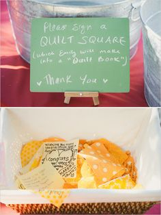 quilt guest book. Could use this same idea for a baby blanket... Have family and friends from a baby shower sign a square.