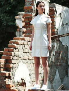 85255aaf375 White Dress With Checked Lace Front paired with white brogues.   womensfashion Fashion Online