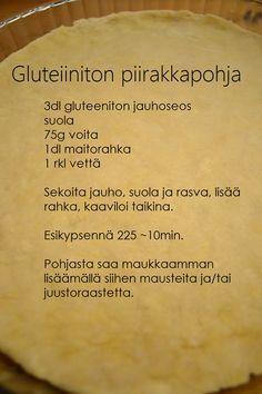Treenaamista ja ruokavalioita koskeva blogi Gluten Free Baking, Gluten Free Recipes, Low Carb Recipes, Baking Recipes, B Food, Love Food, Finnish Recipes, Savoury Baking, Sweet And Salty