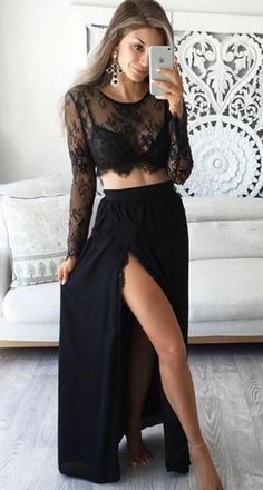Long Sleeve Prom Dresses,Muslim Party Dresses,Gorgeous Lace Prom