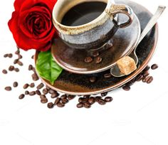 Black coffee and red rose flower by LiliGraphie on Creative Market