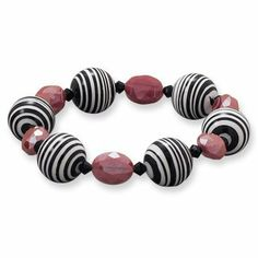 Black and White Stripe Calsilica and Red Glass with Crystal Stretch Bracelet AzureBella Jewelry. $22.42. Jewelry gift box included. Matching necklace and earrings are available. Stretch to fit. Made in the USA. Bold look