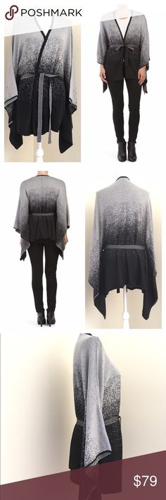 Belldini black & white Ombré Belted Knit Cape NWT Gorgeous pixelated ombré knitted cape with belt. Size large. Poncho Sleeve, side slits, v-neck, medium-weight knit, cotton/viscose, hand wash.   🎀Search my closet for your size 🎀BUNDLE and SAVE! 🎀REASONABLE offers WELCOME 🎀NO TRADES NO HOLDS 🎀Thank you for stopping by!❤️ Belldini Sweaters Shrugs & Ponchos