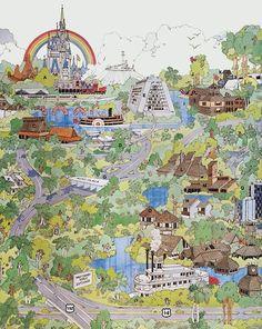 Walt Disney World map illustration