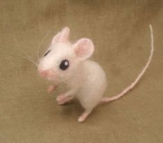 Needle felted white mouse by Ainigmati on Etsy, $65.00