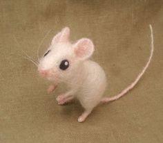 Needle felted white mouse by Ainigmati on Etsy, $65.00