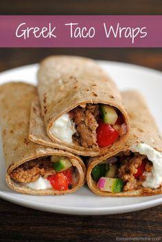 Greek Taco Wraps - seasoned ground lamp wrapped up with a Greek yogurt tzatziki and tomato-cucumber relish.