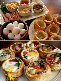 Rolls, eggs ham, bacon, or sausage, peppers, mushrooms, onions, cheese, or any fixings you like. Hollow the bread. Spray inside with cooking spray. Add a few of your favorites finishing with the egg. Salt and pepper. Bake @ 350 til egg is set.