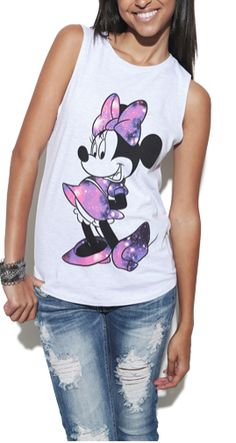 Minnie Cosmic Stand Tank - Graphic Tees -with silver pants? Pop Punk Fashion, Teen Fashion, Disney Fashion, Fashion Trends, Disney Outfits, Disneyland Outfits, Disney Clothes, Wet Seal Outfits, Cool Outfits