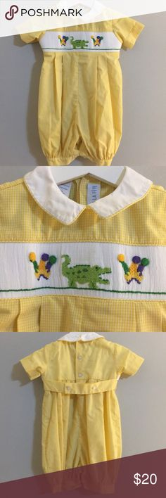 Smocked Mardi Gras Bubble Playsuit Excellent, like new condition. This is perfect for Mardi Gras or a trip to New Orleans Vive la Fete One Pieces