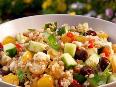 Get /etc/sni-asset/food/people/person-id/0c/be/0cbe4bc6e48014cf92b83275100700b1's Barley Greek Salad Recipe from Food Network