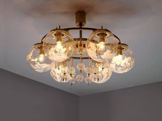 Set of Three Chandeliers in Brass and Art-Glass 2