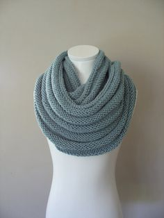 Knit scarf, Chunky Double Infinity Scarf in Duck-Egg Blue, Snood, Circle scarf… Crochet Gloves, Knitted Shawls, Knit Crochet, Loop Scarf, Circle Scarf, Loom Knitting, Hand Knitting, Double Infinity, Handmade Scarves