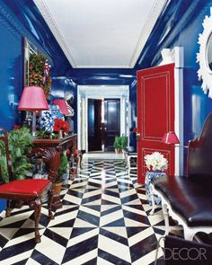 Painted Floors Photos - Painted Wood Floor Designs Photos - ELLE DECOR How much do you love the red door and blue walls too????