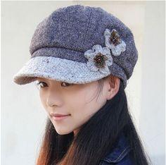 flower newsboy cap for women warm winter hat b996578328b