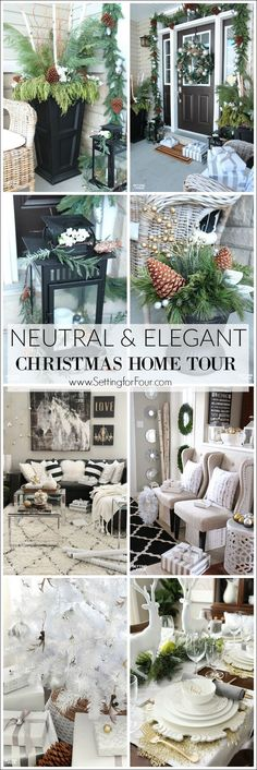 Neutral and Elegant Christmas Home Tour and decorating tips - see my front porch, foyer, family room, dining room and Christmas tree with festive glam decor ideas.