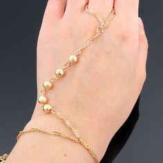 NEW! Gold Beaded Fashion Bracelet Finger Ring/Hand Chain Set (FUNDRAISER) #C #HANDCHAIN