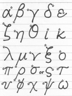 Lower Case Hand Written Greek Alphabet