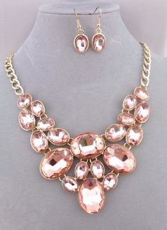 Gold With Oval Peach Rhinestone Necklace Earrings St Fashion Jewelry NEW #Unbranded