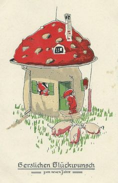 vintage toadstool house...kind of a play on the three little pigs story :)