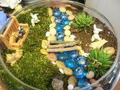 Fairy garden stuff- marbles for water, bridge