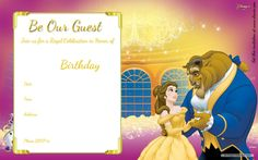 Download Now Free Printable Beauty and the Beast Royal Invitation Template