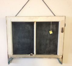 Awesome chalkboard window frame!  $39. #upcycle #chalkboard
