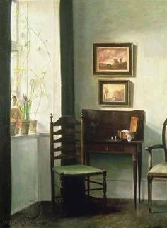 """https://www.facebook.com/MiaFeigelson """"Sunlit interior"""" By Carl Vilhelm Holsøe, from Denmark (1863 - 1935) - oil on canvas - [Danish School of Interior Painting. Founded in 1888]"""