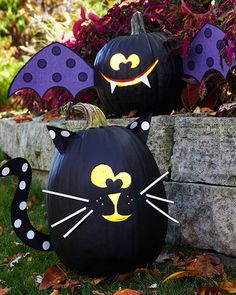 Cute black cat and bat painted pumpkins