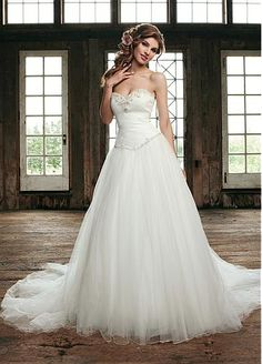 Gorgerous Tulle & Satin A-line Sweetheart Basque Waist Wedding Dress  http://fr.dressilyme.com/p-gorgerous-tulle-satin-a-line-sweetheart-basque-waist-wedding-dress-23132.html