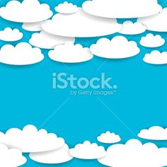 Blue background with white clouds. Vector Royalty Free Stock Vector Art Illustration