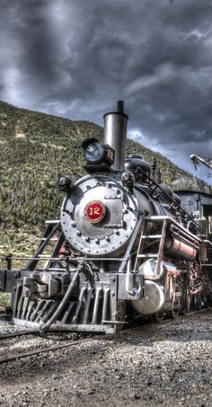 Engine # 12, Colorado & Southern Railroad, Georgetown Loop, Georgetown, CO    http://imagesbyblair.smugmug.com/History/Things/22507324_j8wQQw#!i=1915972821=2SGXZVp    trains, locomotive, image, vintage, old colorful, majestic