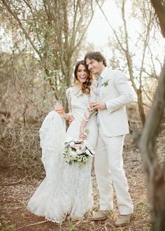 Ian Somerhalder and Nikki Reed's secret boho-chic wedding in Topanga Canyon. Nikki wore a lovely lace Claire Pettibone gown and Ian is in a matching white bespoke Nedo Bellucci suit // Hollywood Wedding