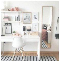 Study Room Decor, Room Ideas Bedroom, Bedroom Kids, Ikea Bedroom, Trendy Bedroom, Bedroom Office, Teen Study Room, Teen Bedroom Desk, Bed Ikea