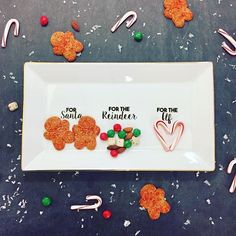 'Tis the season for sweets and treats! Santa is use to always getting the treats, this year we are leaving surprises for the reindeer and elves too! This adorable platter is the perfect expansion on an old tradition.   #papernmoreok #christmas #treats #candycane #gingerbread