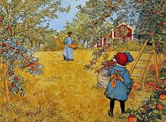 Apple Orchard, Peinture de Carl Larsson