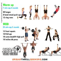 20 lunges, 8 hand stand push ups, 12 ring rows, 15 front squats, 10 Pull-ups, 10 sumo deadlift high pull, 10 incline db press, lunges, hand stand push ups, ring rows, front squats, Pull ups, sumo deadlift high pull, incline db press