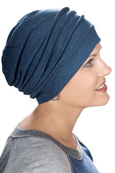 sideways view of cotton slouchy cap for hair loss and cancer patients