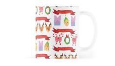 Cute Christmas Coffee Mug #christmas #santa #reindeer #snowman #animals
