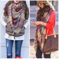 Chunky cowel Knit Scarf  Blanket Scarf or Infinity Best selling beige combo blanket scarf nwot super soft and so many ways to wear it ! Other colors available as well . Vivacouture Accessories Scarves & Wraps