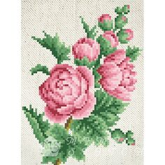 Канва с рисунком для бисера Пионы Т-0605 #beads #beadwork #embroidery #mimistitch