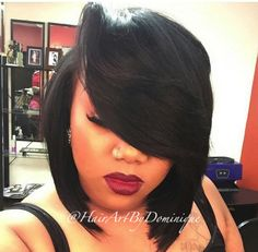 This is one of the sexiest bobs ever! The deep side part makes it stand out. Done by #AtlantaStylist @HairArtByDominique on Instagram.  Visit for more style inspriation! http://www.voiceofhair.com/countdown-best-hairstyles-black-women-2014/