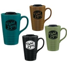 Ceramic Mug with Push On Lid #mug #ecofriendly #reusable #promotionalproduct