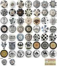 Vintage Ceramic Knobs Ornamental Door Knobs with Various Black White & Grey Designs Kitchen Cabinet Handle Cupboard or Drawer Pulls from DesignInFocus knobs ceramic knobs vintage knobs door knobs dresser knobs dresser handles dresser pulls ceramic handles