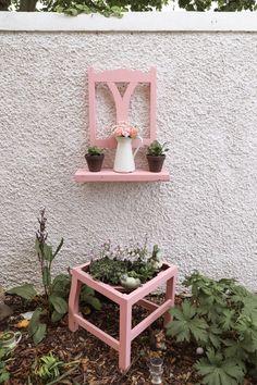 How to turn a chair into a garden planter and a shelf – Dainty Dress Diaries - diy garden decor kids Recycled Garden Art, Garden Crafts, Garden Projects, Diy Projects, Diy Crafts, Garden Ideas, Rock Crafts, Homemade Crafts, Furniture Projects