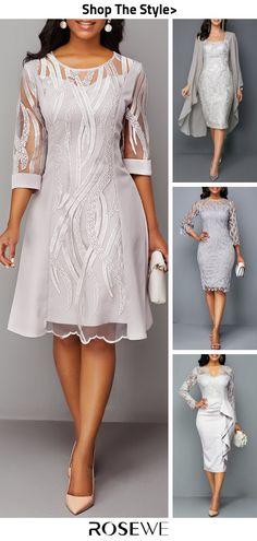 Hot Sale & Three Quarter Sleeve Back Zipper Round Neck Lace Dress - heidelinde Mother Of Groom Dresses, Mothers Dresses, Cute Wedding Dress, Best Wedding Dresses, Mob Dresses, Women's Fashion Dresses, Bride Dresses, Elegant Dresses, Beautiful Dresses