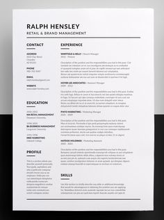 Clean & Simple Career Focused Design - The design of this exclusive template has a career in mind but even if you're not looking for a job in that field and just prefer the layout, it can be easily edited to suit any position or industry. Resume Layout, Job Resume, Resume Writing, Resume Skills, Resume Tips, Resume Design Template, Cv Template, Resume Templates, Simple Resume Template