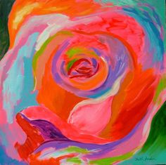 Rose Pop 3, funky art, abstract rose painting, bright bold painting, colorful painting, modern wall Abstract Flowers, Abstract Art, Modern Wall Art, Contemporary Art, Original Paintings, Original Art, Rainbow Painting, Cottage Art, Funky Art