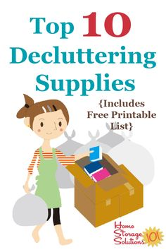 Here is a list of the top 10 decluttering supplies you may need when clearing clutter from your home, using the Declutter 365 system {on Home Storage Solutions 101} #DeclutteringSupplies #Declutter365 Clearing Out Clutter, Rent A Dumpster, Household Notebook, Household Tips, Clutter Organization, Organizing Tips, Used Cardboard Boxes, Trash Day, Black And White Bags